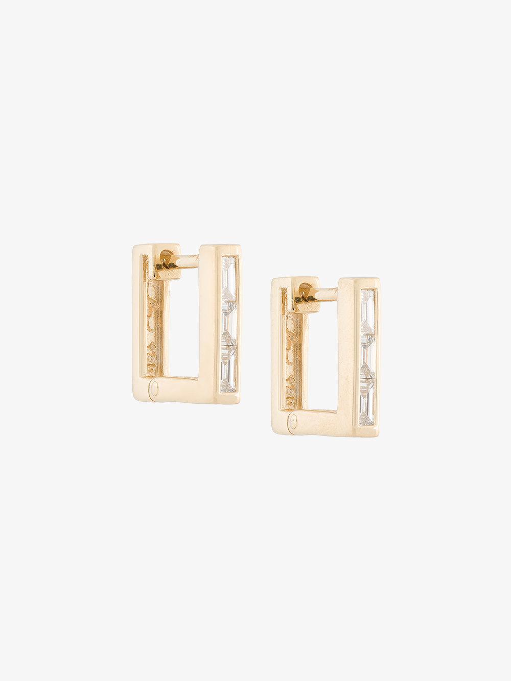 Lizzie Mandler petit square emerald Huggies earrings - Metallic hjb5JPttB