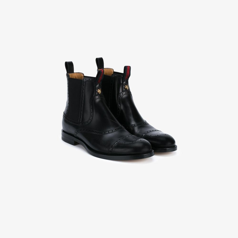 gucci brogue ankle boots in black for men lyst