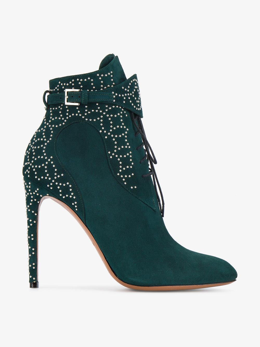 Green Studded Lace Up 110 suede boots Alaia Lnkc2JD