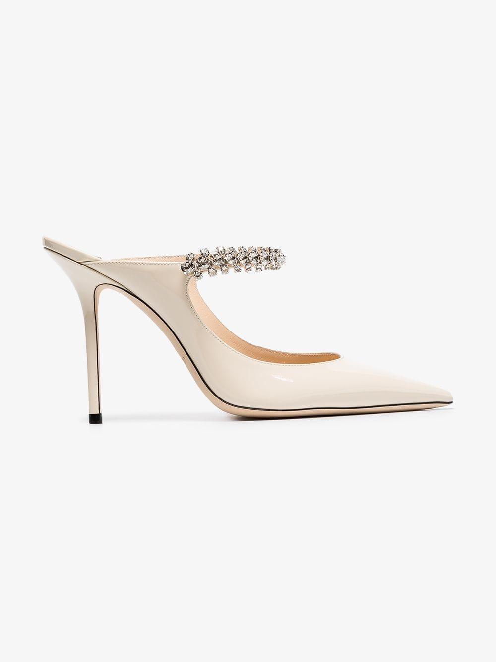 c4ec3d69d2f Jimmy Choo. Women s Linen White Bing 100 Crystal Anklet Patent Leather Mules