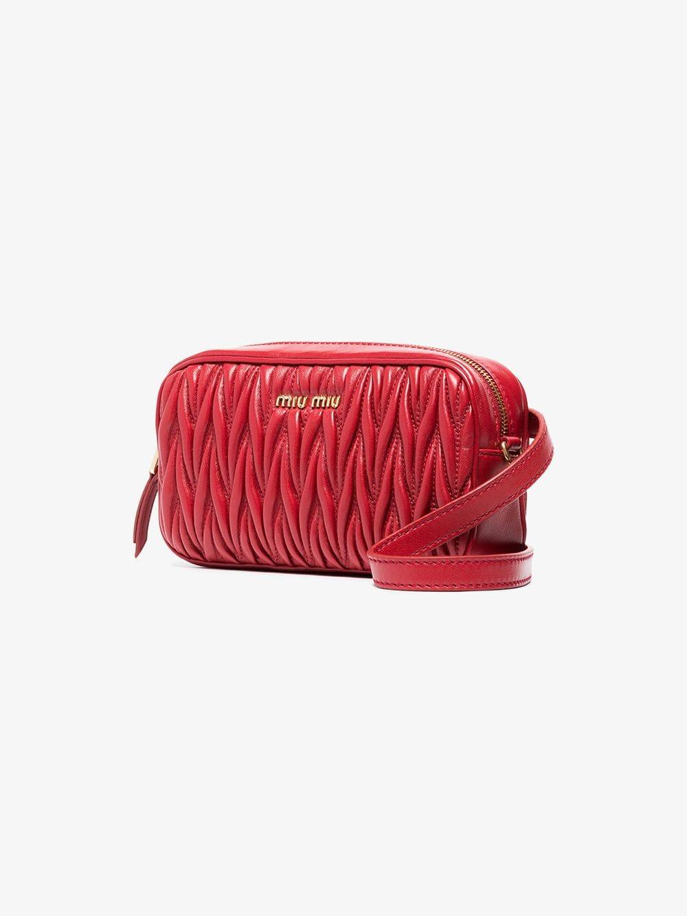adf69129d51 Miu Miu - Red Matelassé Leather Belt Bag - Lyst. View fullscreen
