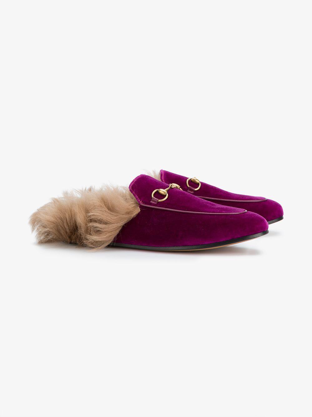 07997bdb7c9 Gucci - Multicolor Pink Princetown Velvet Fur Lined Mules - Lyst. View  fullscreen