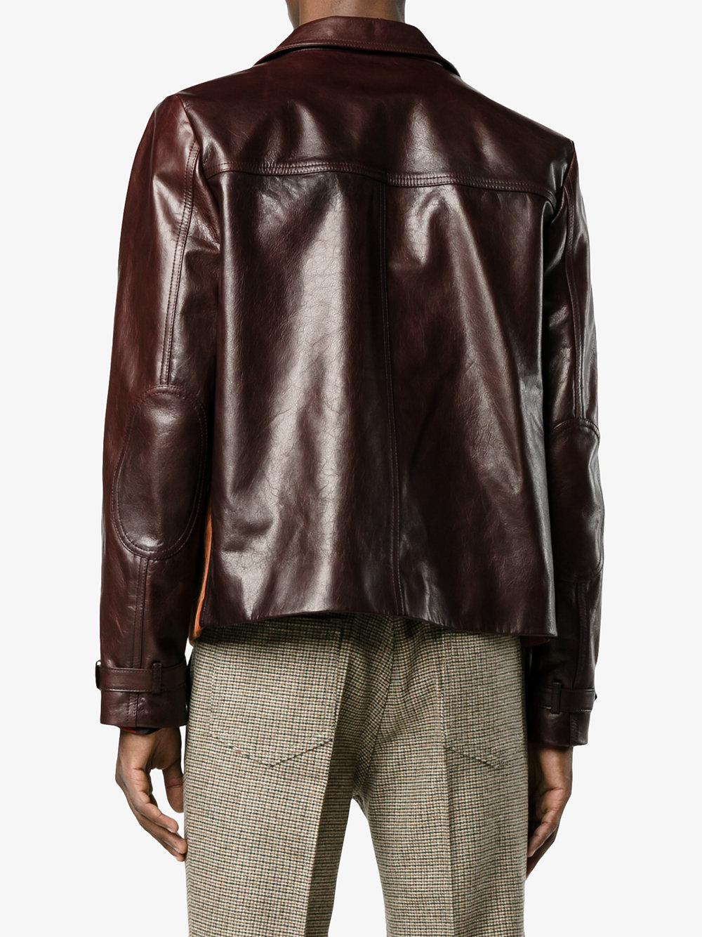 Prada Patch Pocket Leather Jacket in Red for Men