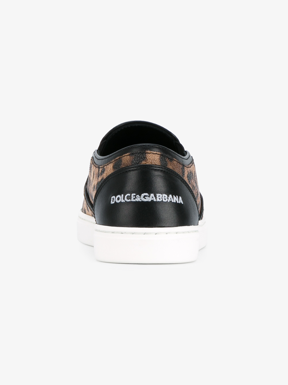 Dolce & Gabbana Leather Leopard-printed Slip-on Sneakers in Brown
