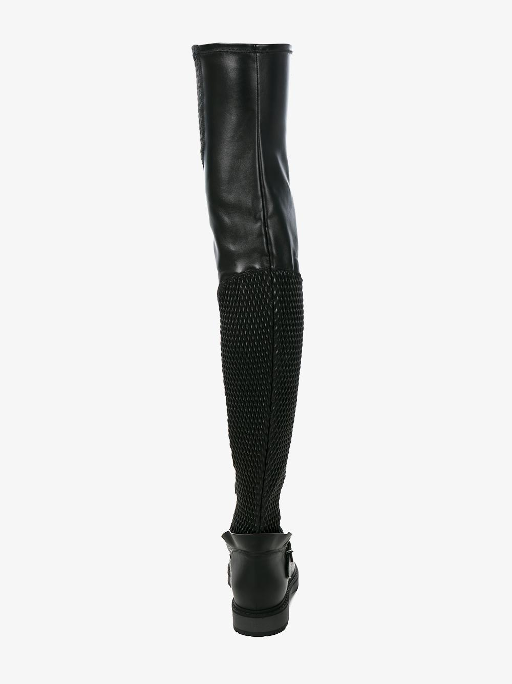 Fendi Over The Knee Leather Biker Boots in Black