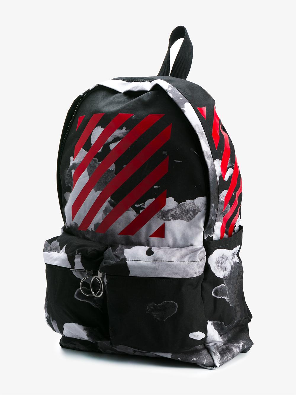 Off White C O Virgil Abloh Sky Print Cotton Backpack For