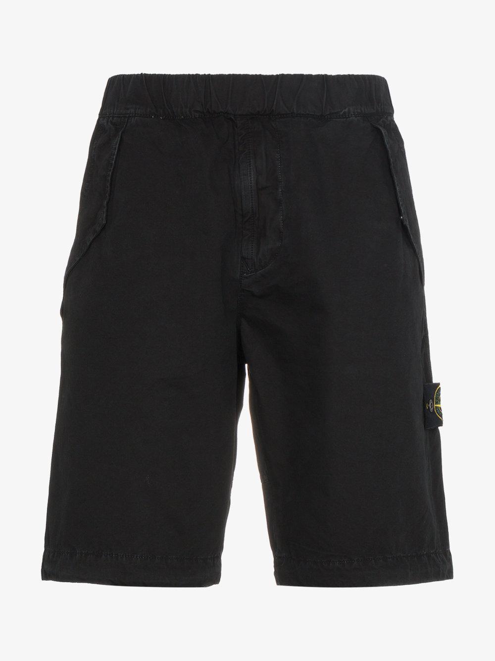 lyst stone island logo cargo shorts in black for men. Black Bedroom Furniture Sets. Home Design Ideas