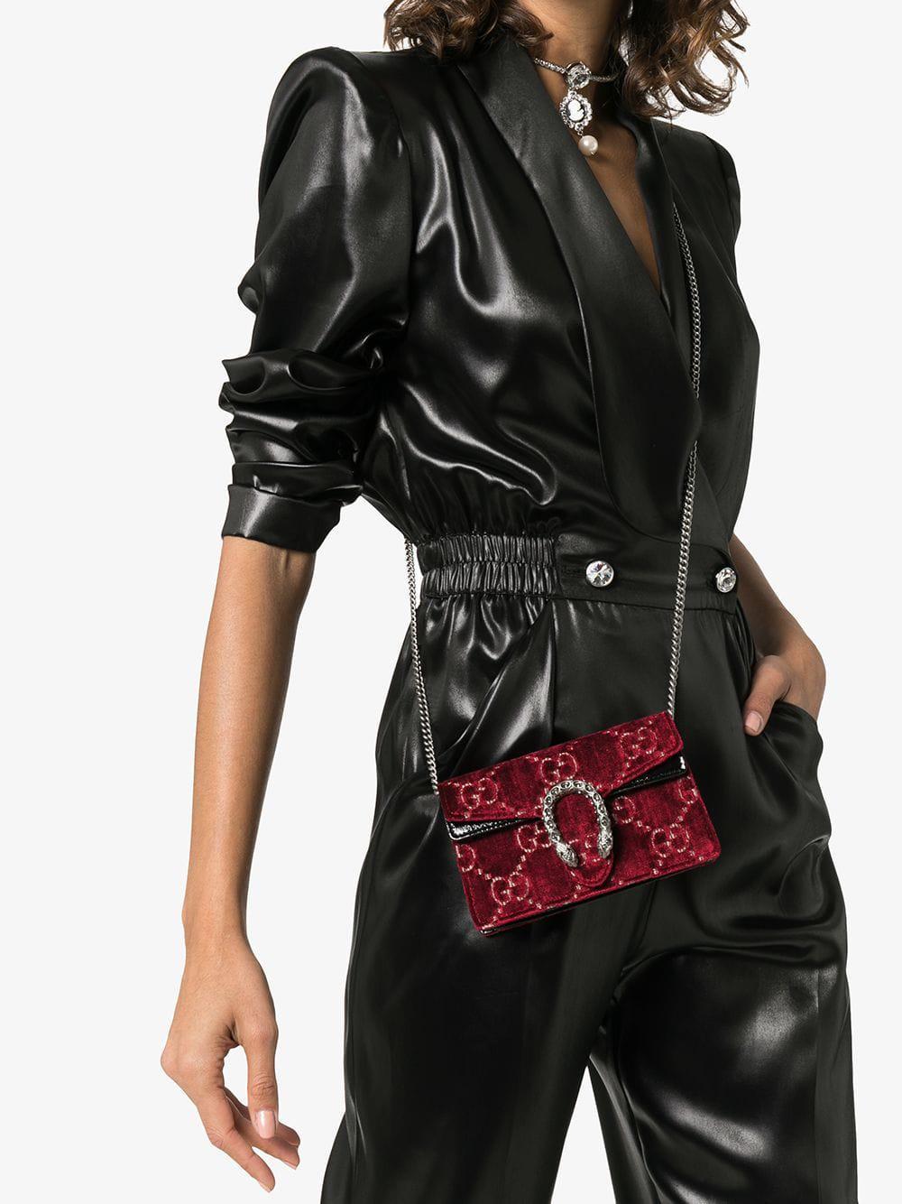 d56a002f019f Gucci Dionysus GG Velvet Super Mini Bag in Red - Lyst
