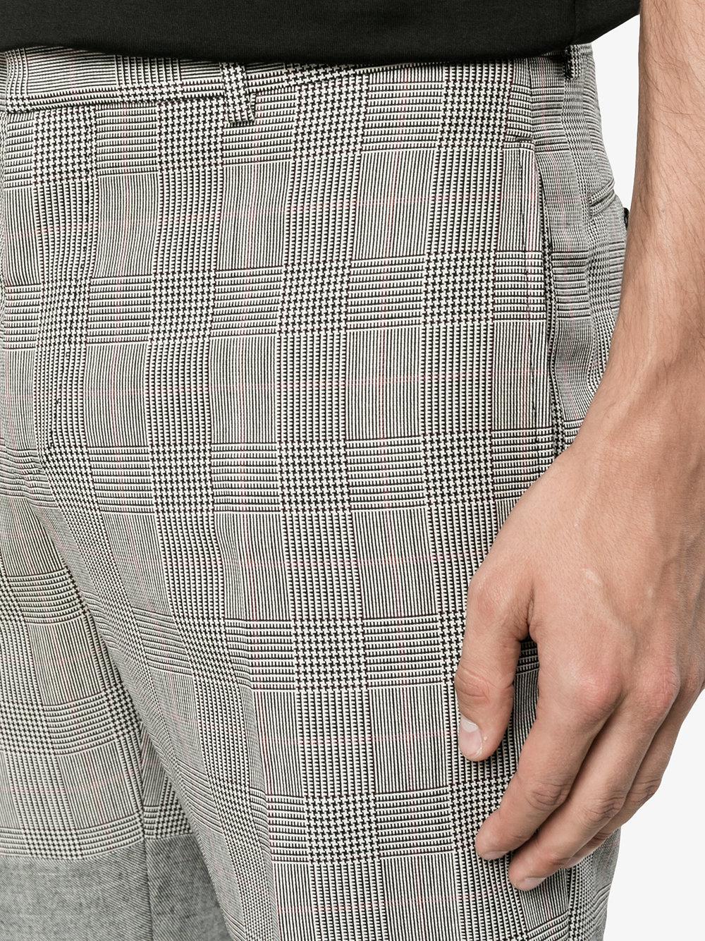 Alexander McQueen Wool Herringbone And Houndstooth Cigar Trousers in Black for Men