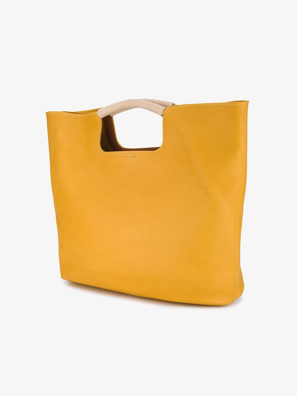 Simon Miller Leather Large Birch Tote Bag in Yellow & Orange (Yellow)