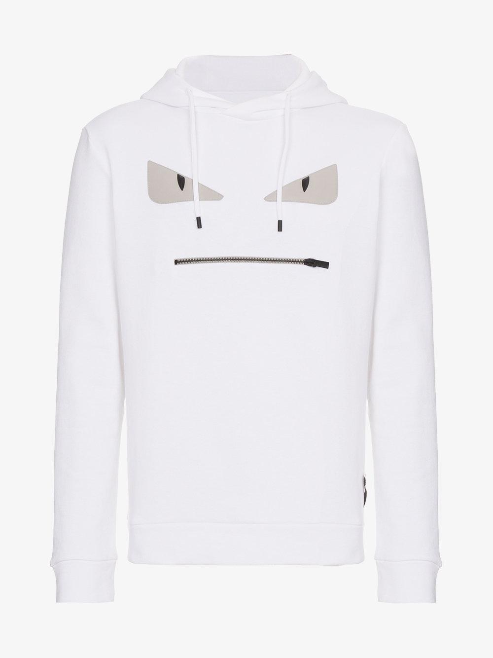 b3da900c52 Fendi White Eyes Hooded Sweater for men