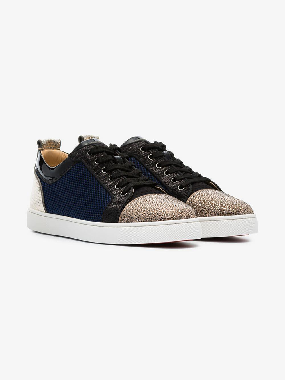 392051115ae Lyst - Christian Louboutin Multicoloured Louis Junior Rhinestone-embellished  Leather Low-top Sneakers for Men