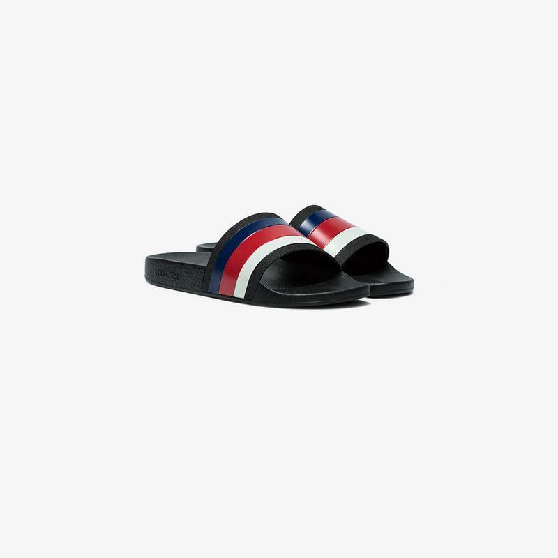 9f3ac5cbaadf0 Gucci Web Slide Sandals in Black for Men - Lyst