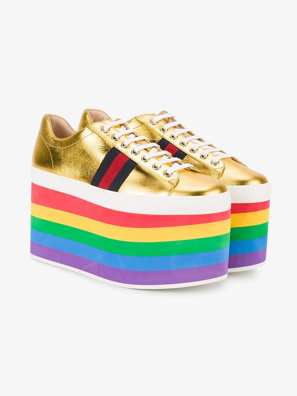 Gucci Peggy Rainbow Platform Leather