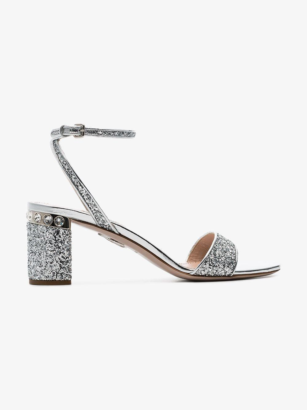 50087cb268ac Lyst - Miu Miu Silver 65 Glitter Block Sandals in Metallic