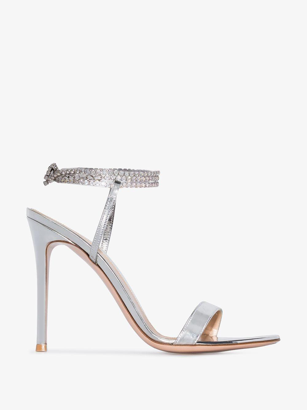 5c26574a3 Lyst - Gianvito Rossi Silver Tennis 105 Crystal Metallic Sandals in ...