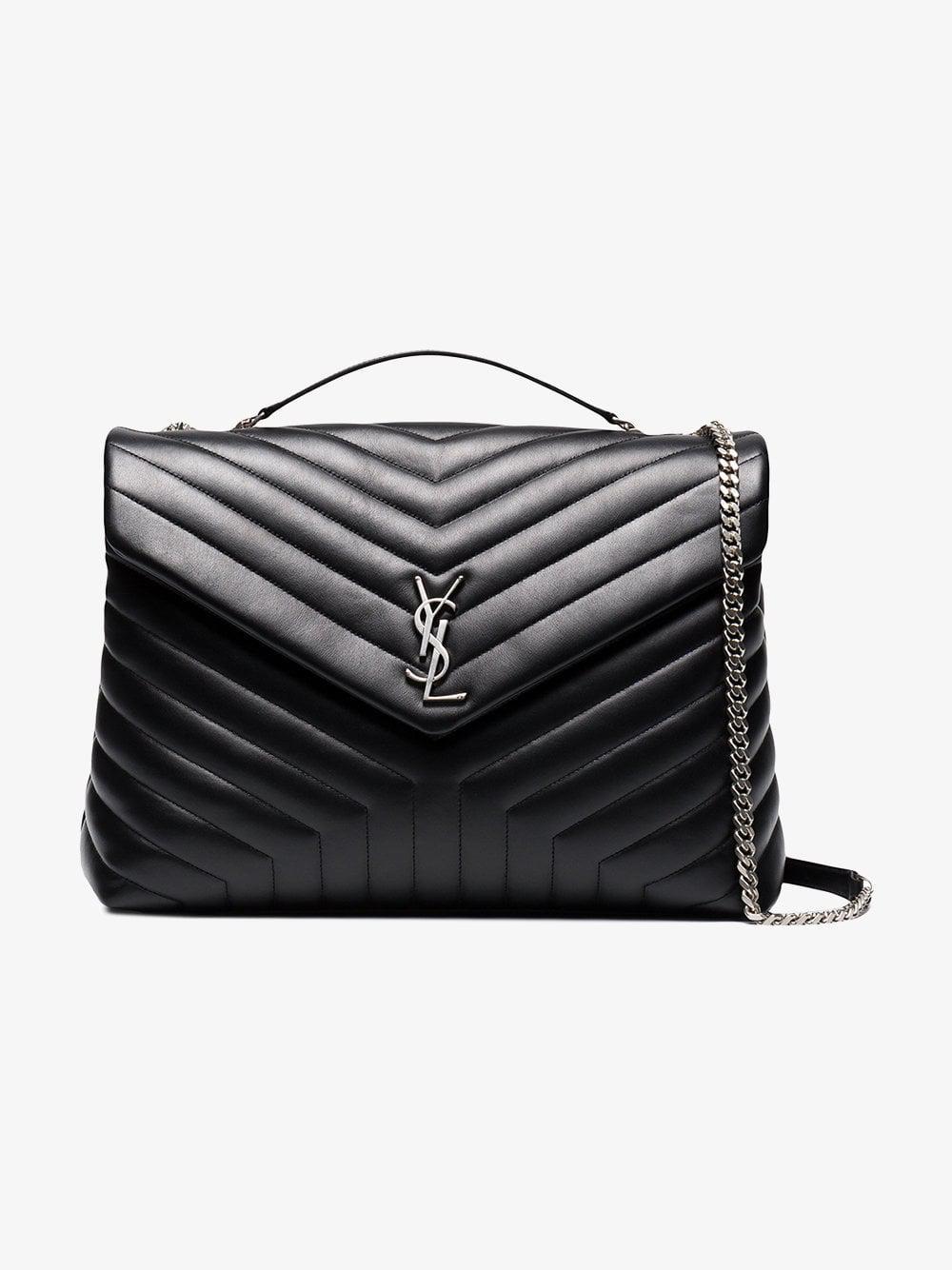 9773fa8c2 Saint Laurent Loulou Quilted Leather Shoulder Bag in Black - Lyst