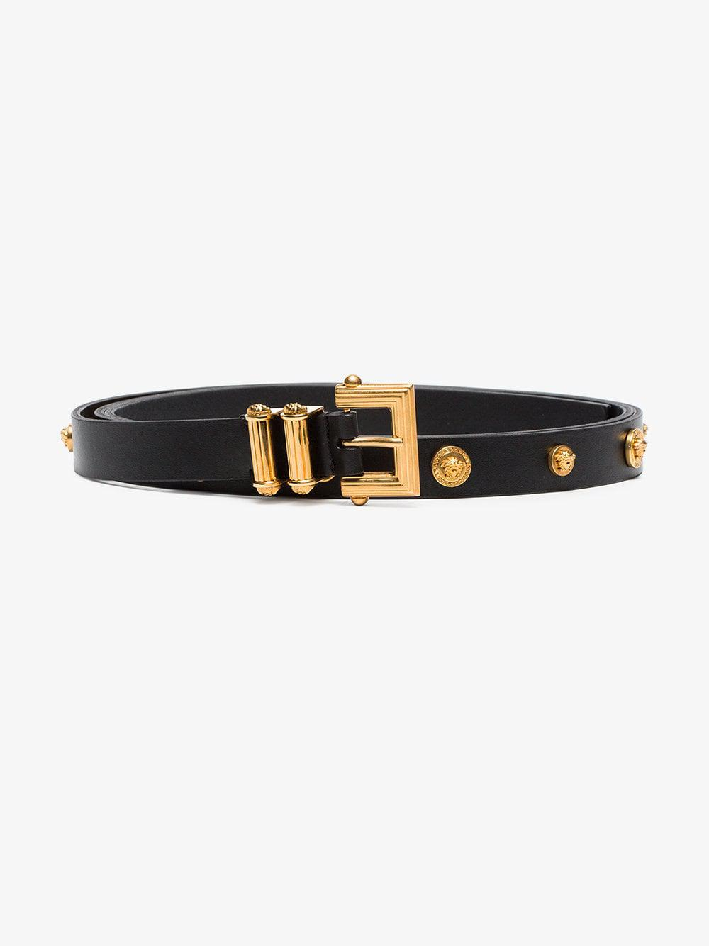 b86a2f652d Versace Black Square Buckle Tribute Leather Belt in Black - Lyst