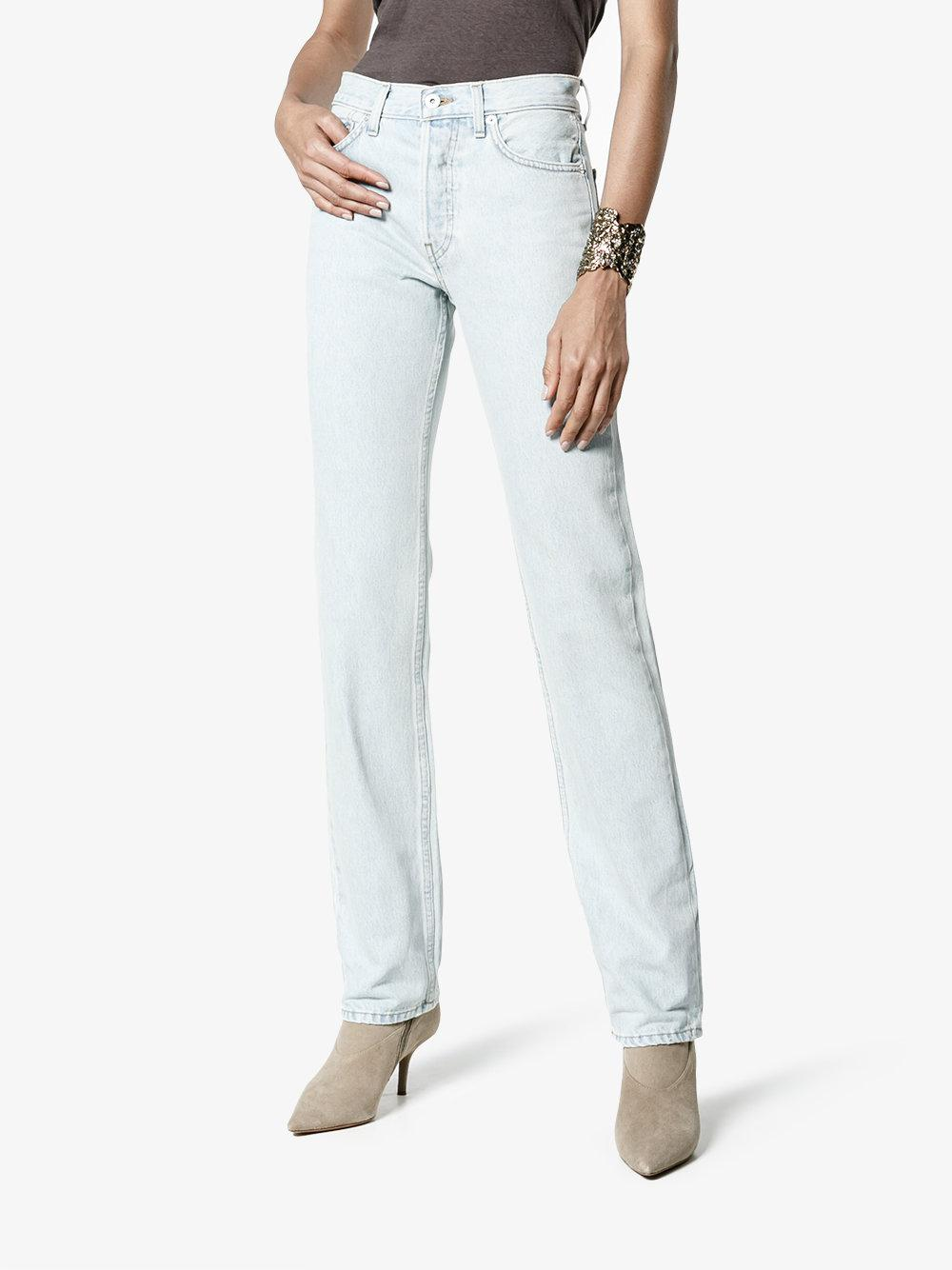 Yeezy Denim Mid Rise Straight Jeans in White