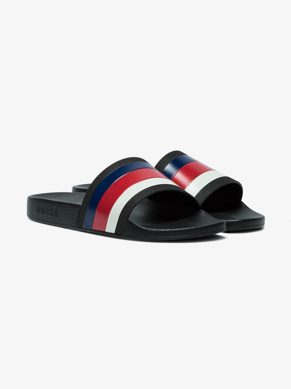 890750e8705cf Lyst - Gucci Web Slide Sandals in Black for Men