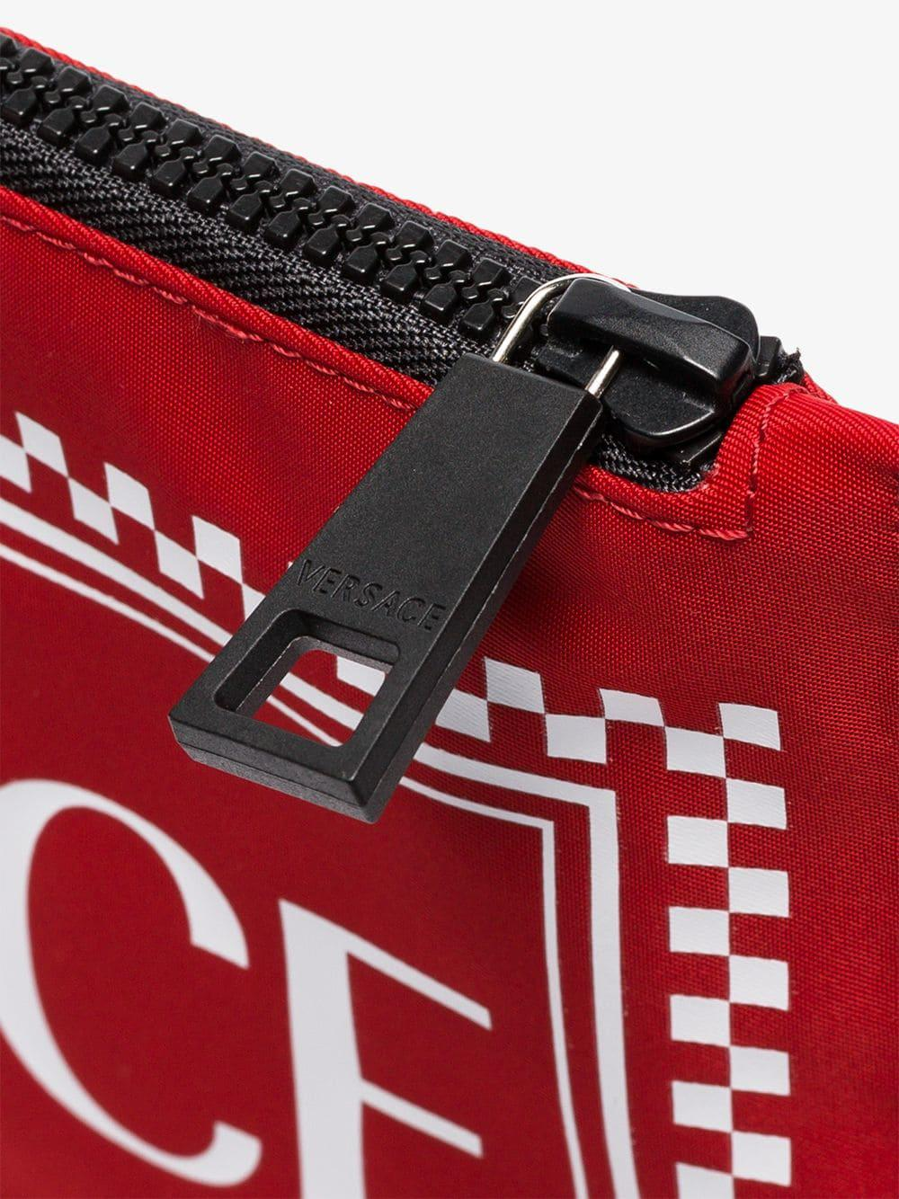 250c751702 Versace Red Logo Print Pouch Bag in Red for Men - Lyst
