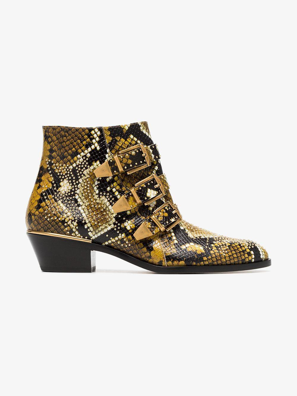 Chloé Leather Susanna Python Ankle Boots in Black