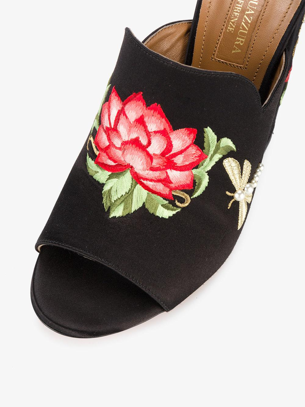 Lyst Aquazzura Lotus Flower Embroidered Mules In Black Save 20