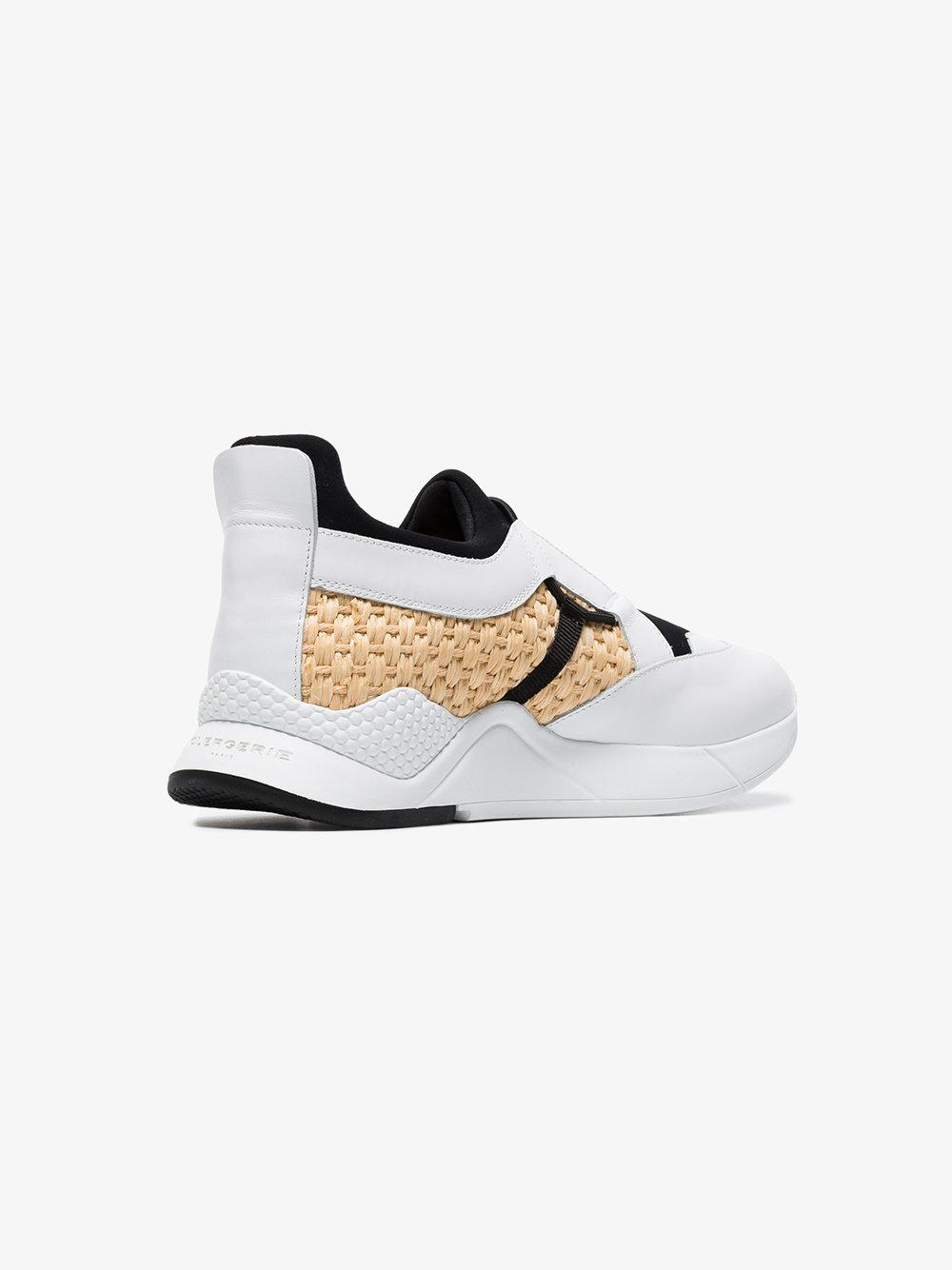 Clergerie White, Black And Yellow Salvy Leather Sneakers