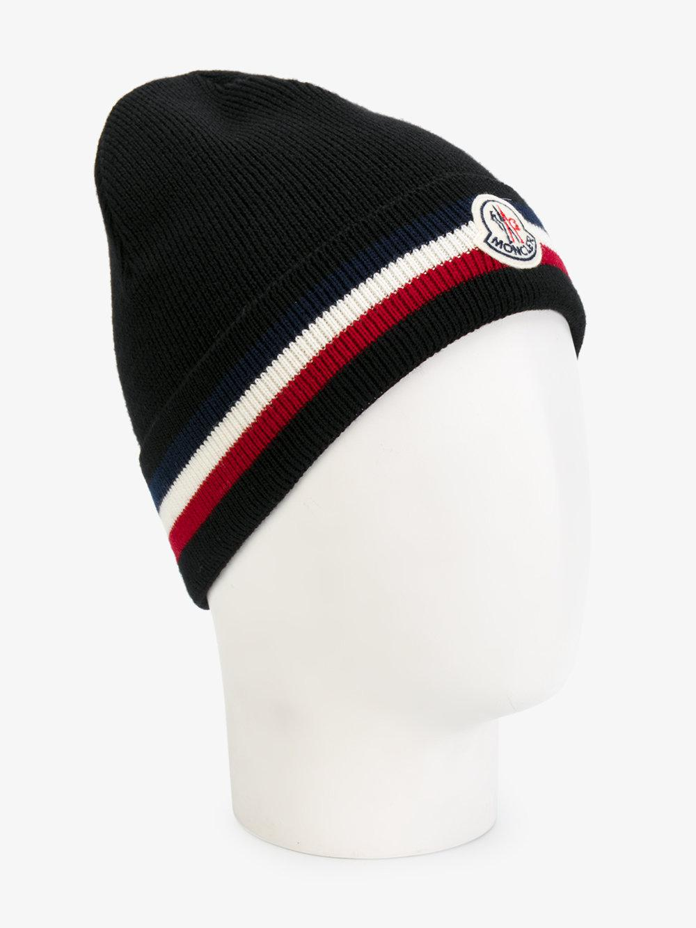 Lyst - Moncler Berretto Tricolour Stripe Beanie in Black for Men 0c6dbb5014db