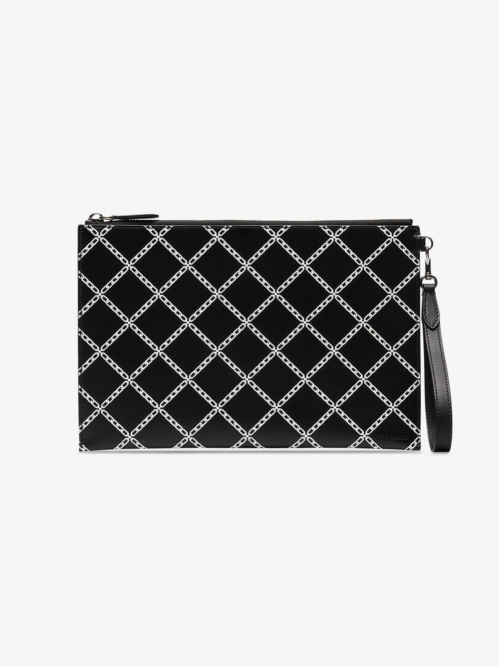 bd7a04ff940e Burberry Black And White Edinburgh Check Leather Zip Pouch in Black for Men  - Lyst
