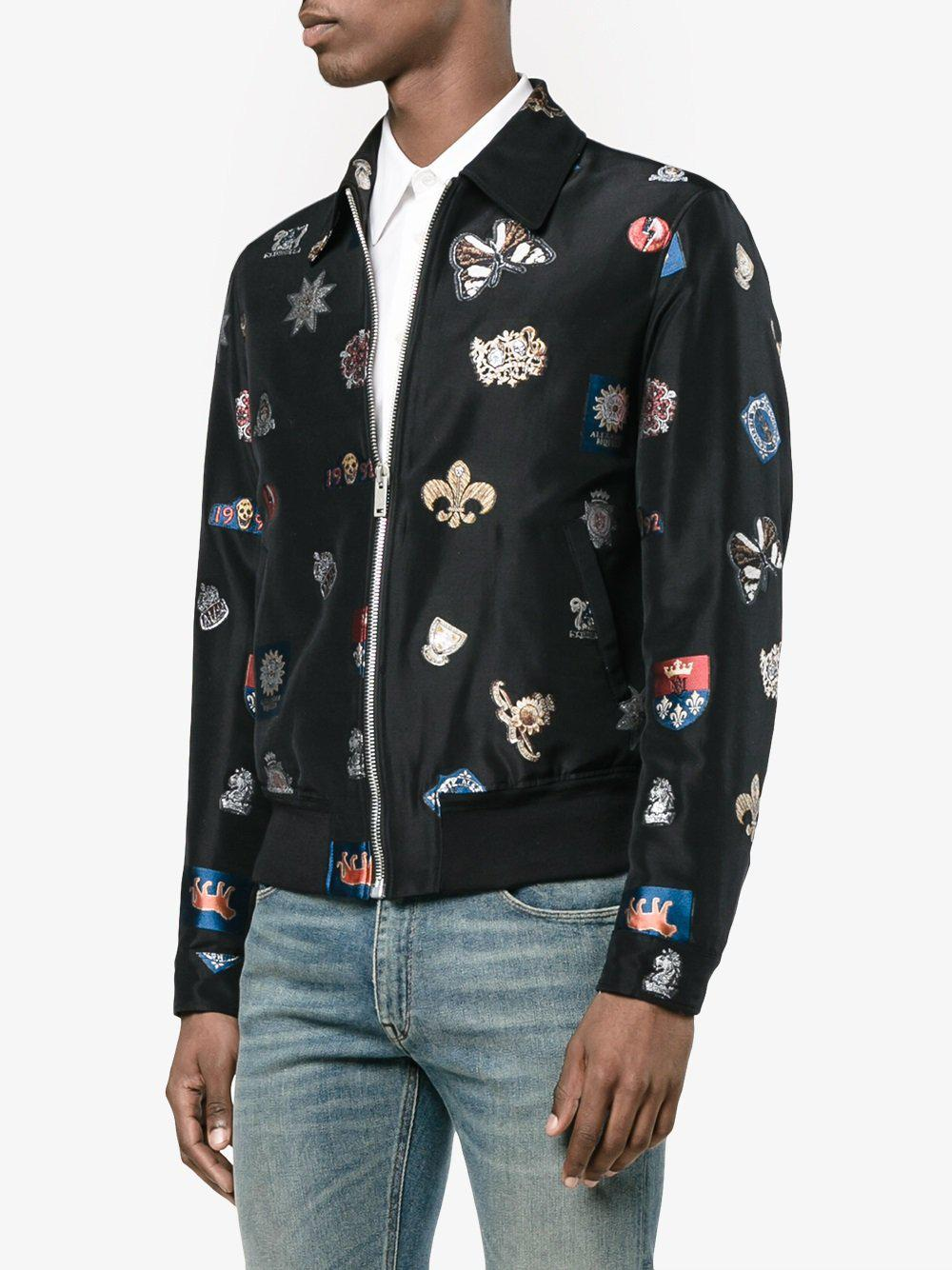 Alexander McQueen Silk Black Embroidered Satin Bomber Jacket - Size 40 for Men