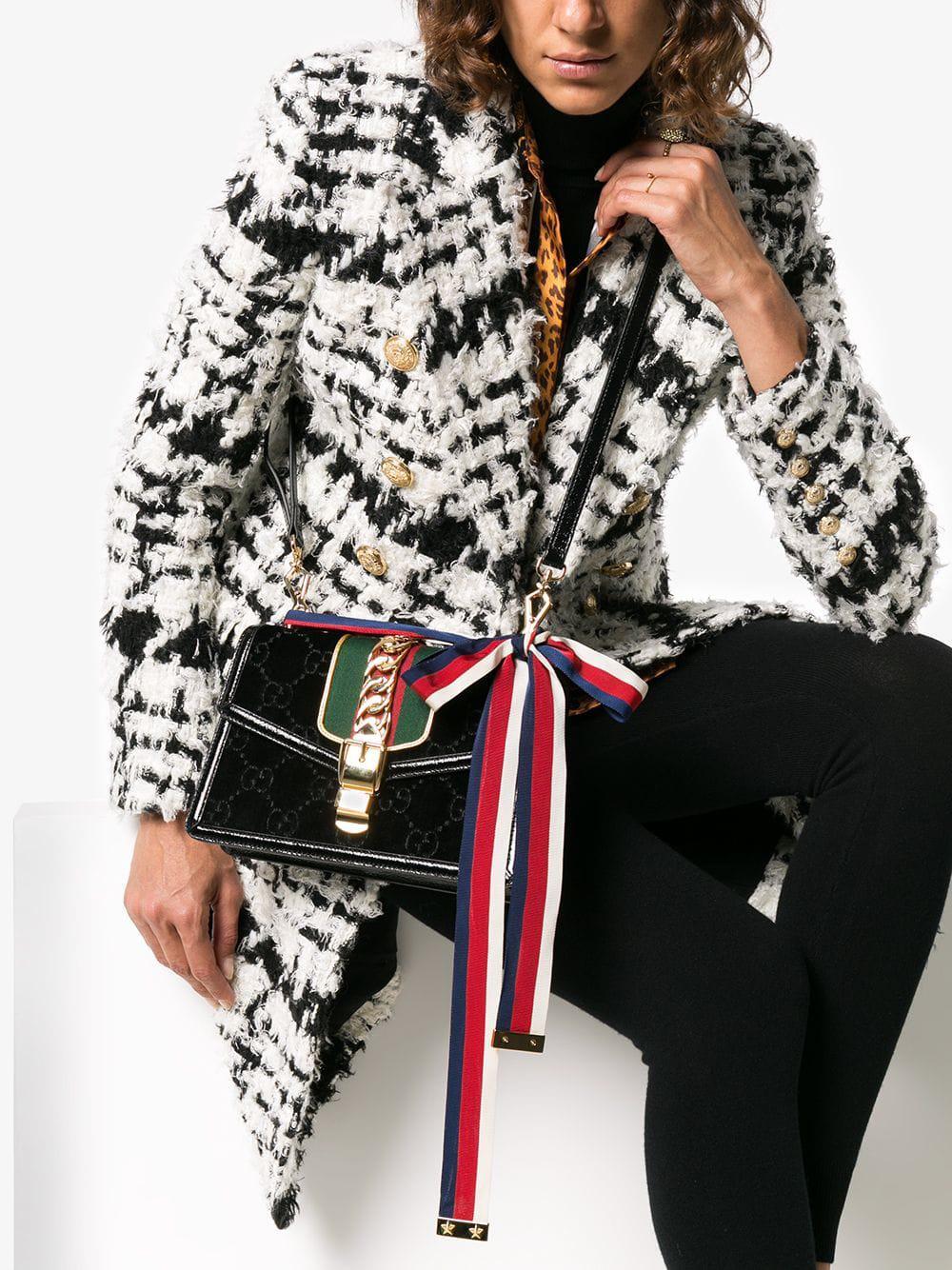 3139f5771d9 Gucci - Black Sylvie GG Velvet Small Shoulder Bag - Lyst. View fullscreen