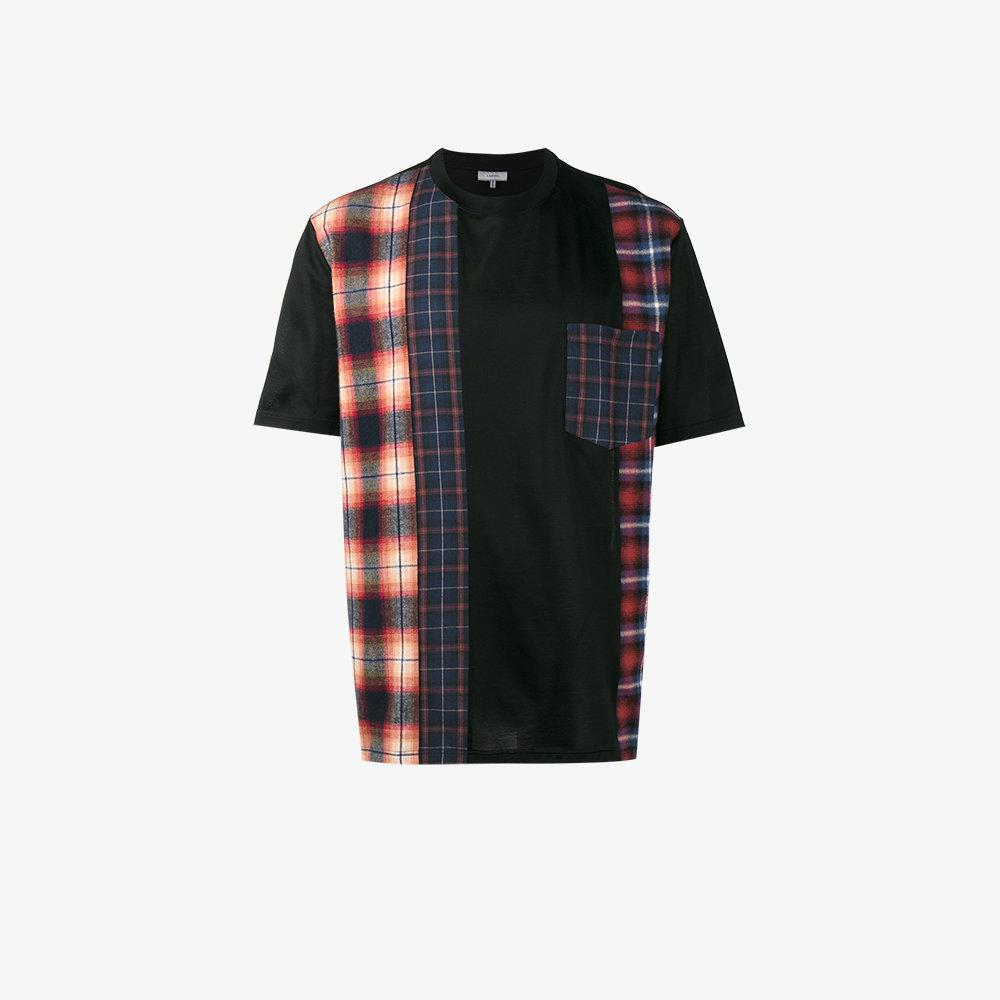 Lyst lanvin mixed plaid t shirt in black for men for Mixed plaid shirt mens