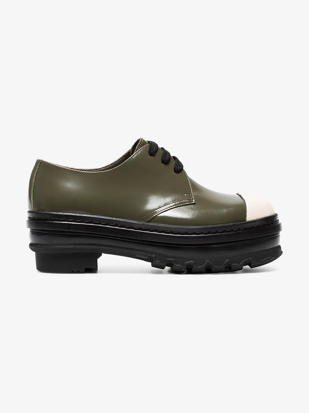 08582d0df15 Lyst - Marni Black Almsy 65 Flatform Leather Brogues in Green