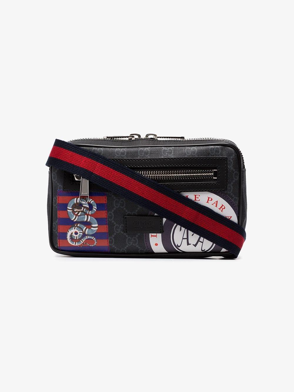 3e194720598 Lyst - Gucci Black Night Courrier Badge Embellished Crossbody Bag in ...