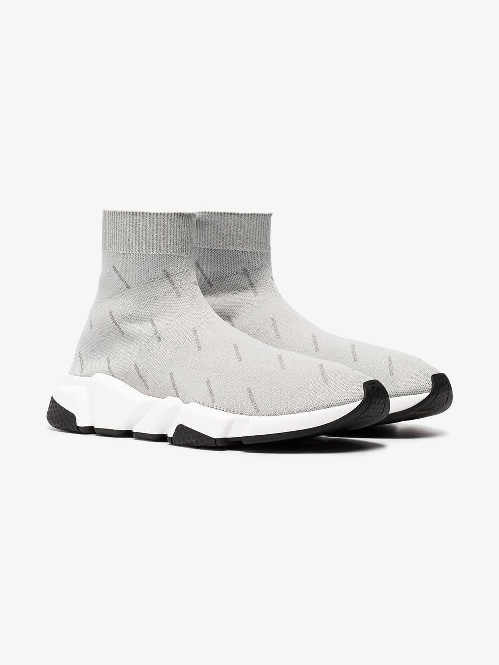 28b2b35612d4 Lyst - Balenciaga Grey Speed Reflective Logo Sneakers in Gray for Men