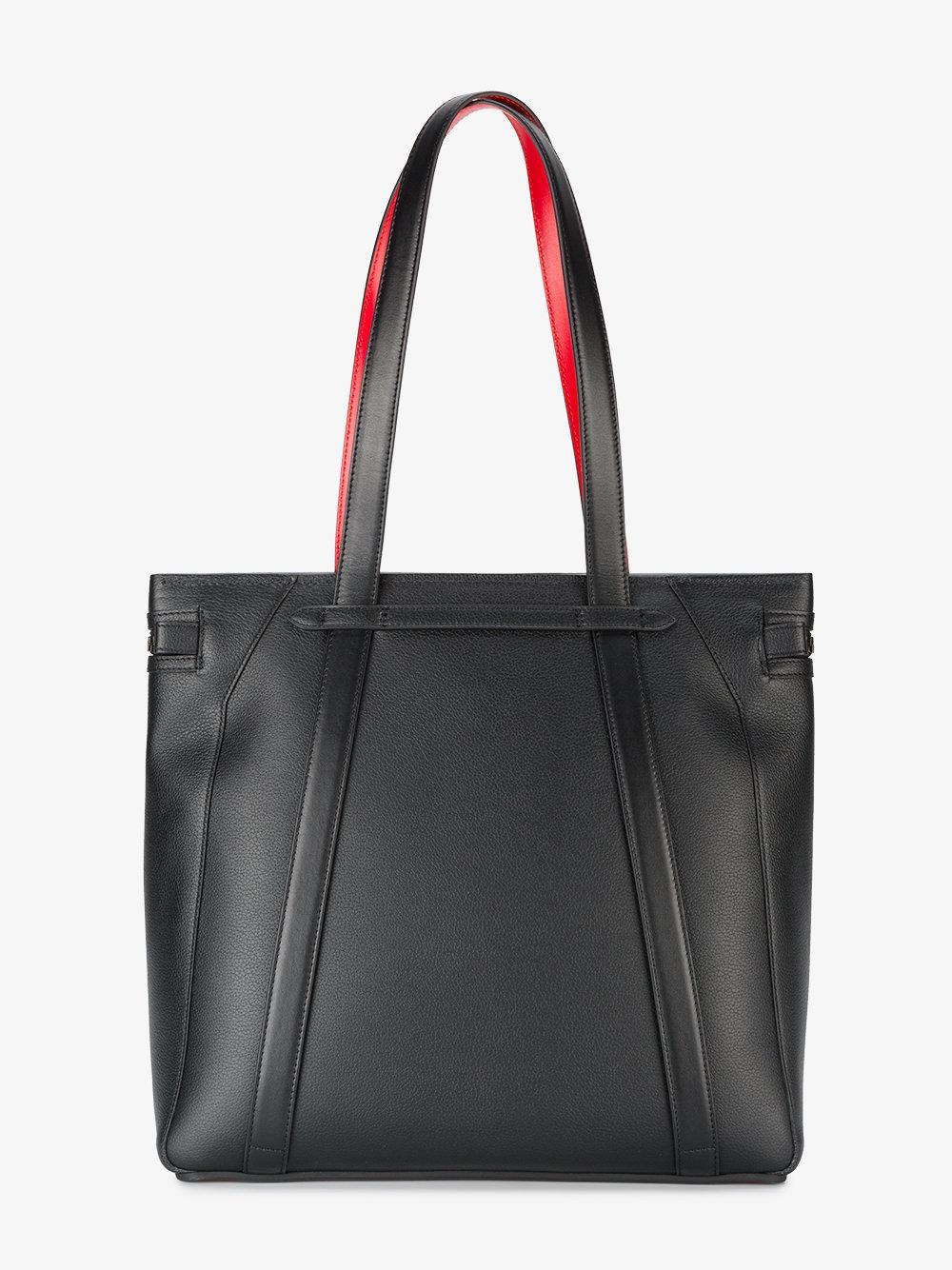 Christian Louboutin Leather Cabado Embellished Tote Bag in Black