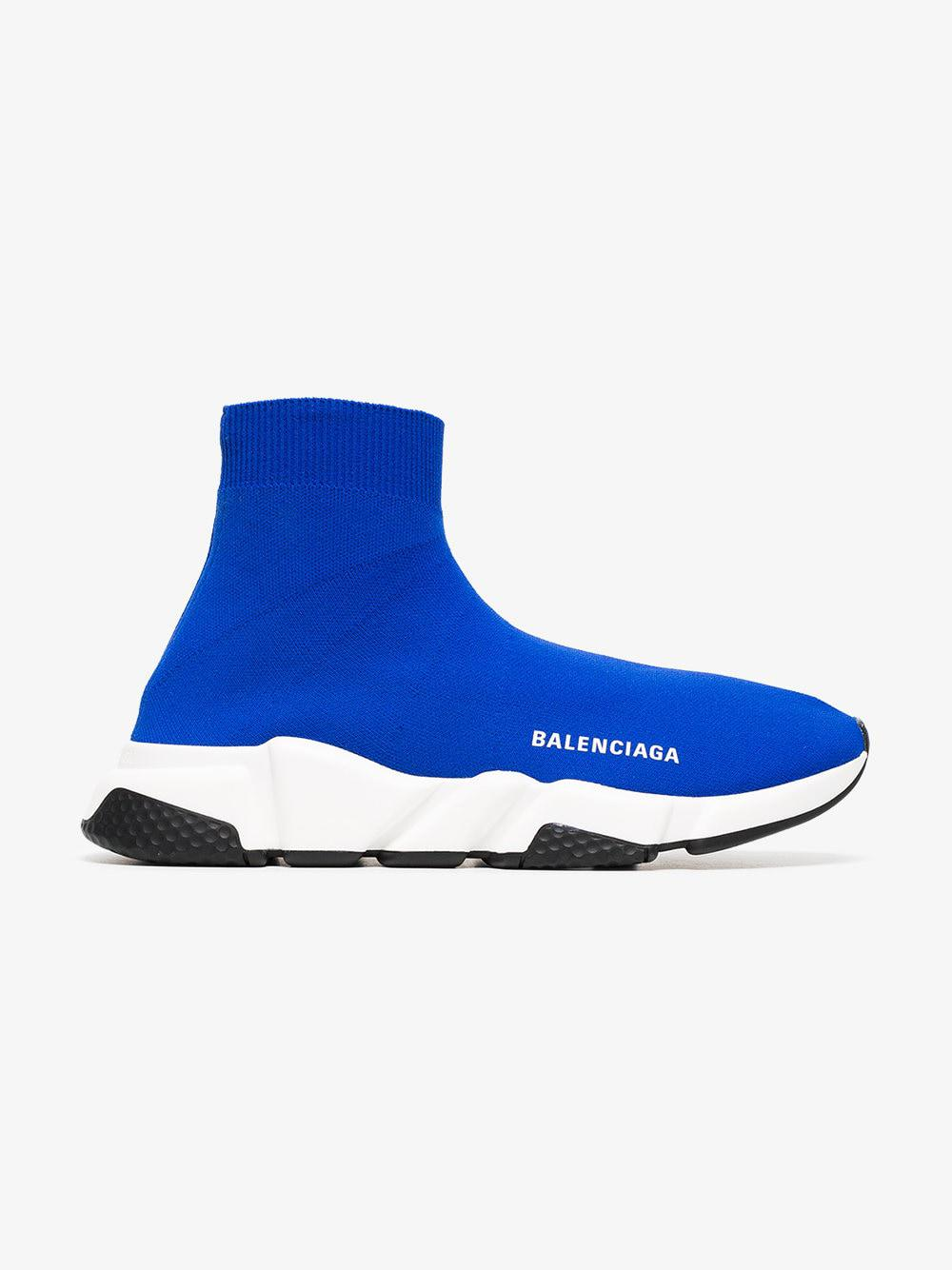 Blue And White Speed Sock Sneakers - Lyst