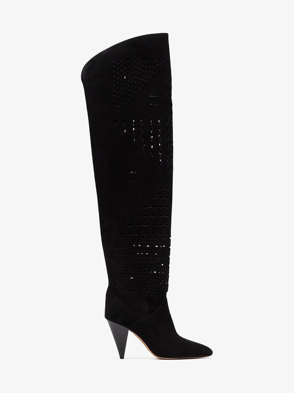 e5d8ef8aa8e Isabel Marant. Women s Black Lurrey 90 Perforated Suede Over The Knee Boots