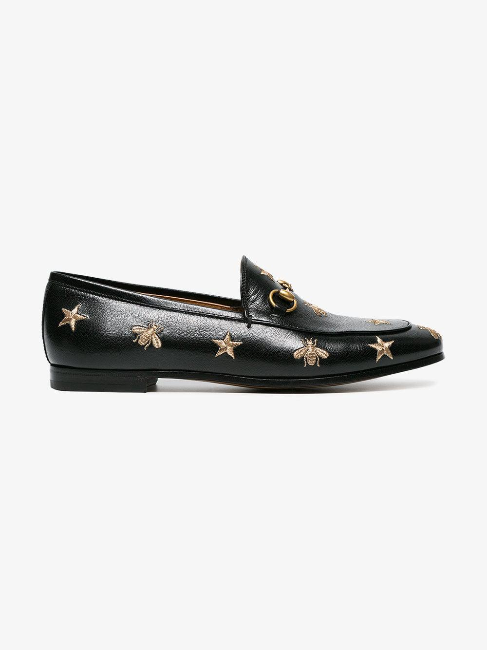 61f8b1f3313 Gucci Jordaan Embroidered Leather Loafer in Black - Lyst