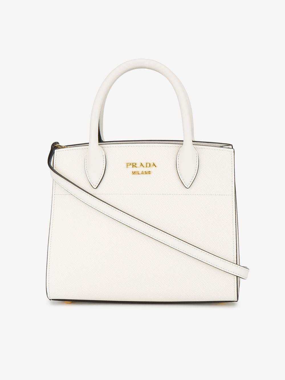 050f17b6017d Lyst - Prada Biliotheque Small Tote Bag in White