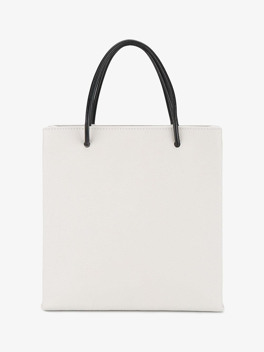 Balenciaga Leather Small White Shopping Tote Bag in Black