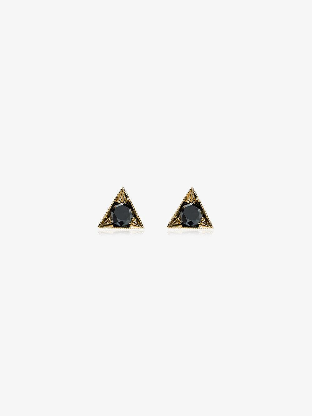 24d07c7d0 Lyst - Lizzie Mandler 18k Gold Triangle Studs With Black Diamond in ...