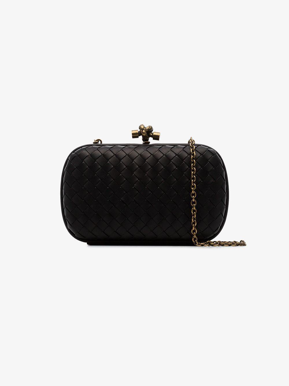 Lyst - Bottega Veneta Black Knot Detail Woven Leather Clutch Bag in ... 87605a574ab8b