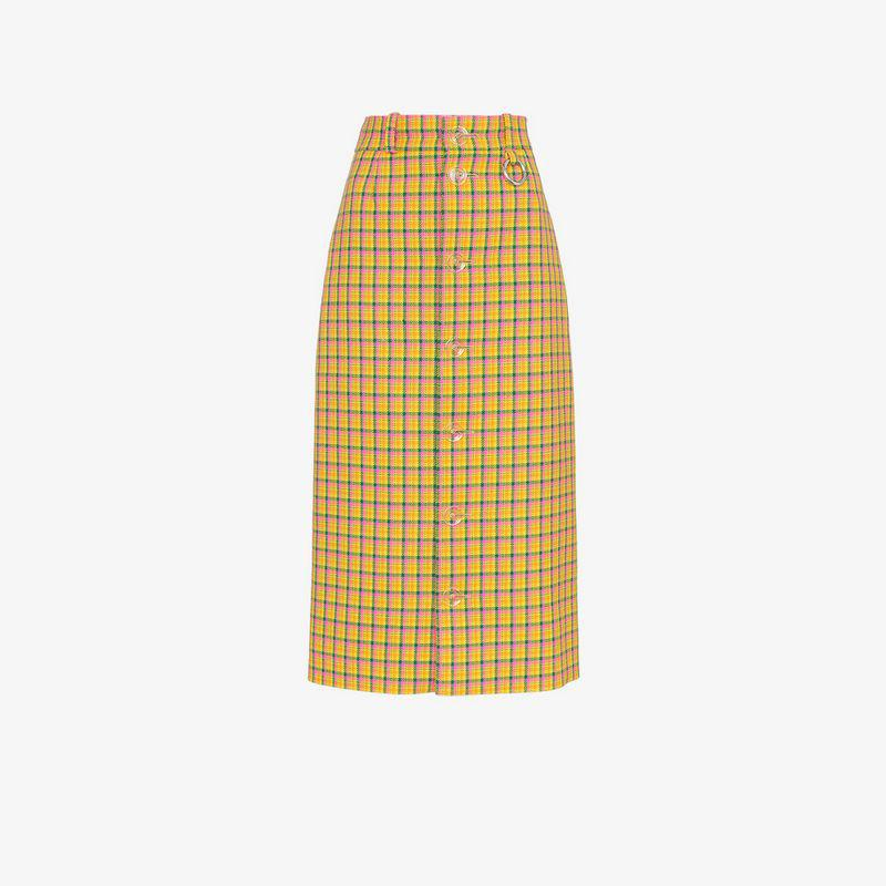 5d7e25da72 Balenciaga High Waisted Check Print Midi Skirt in Yellow - Lyst