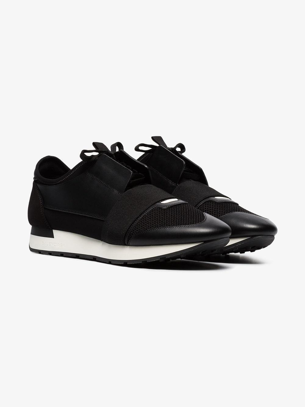 5e473abff167 Lyst - Balenciaga Black Race Runner Leather Sneakers in Black for Men