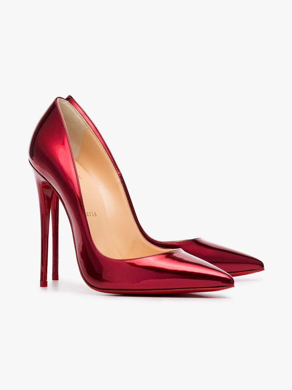 best service 664f4 1a79f Christian Louboutin Metallic Red So Kate 120 Patent Leather Pumps