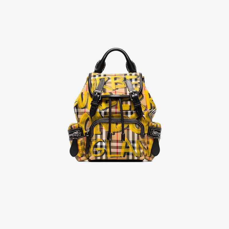 748d12e98e1e Lyst - Burberry Multicoloured Vintage Check Graffiti Rucksack