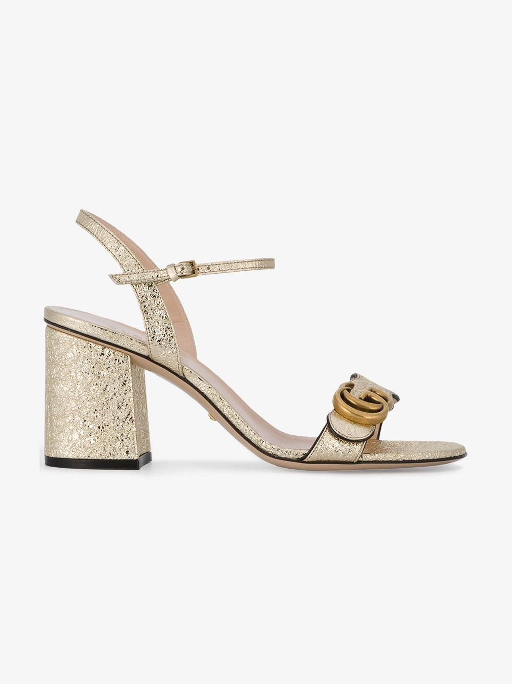 8efb8489db5 Lyst - Gucci Marmont Metallic Sandals in Metallic - Save 8%