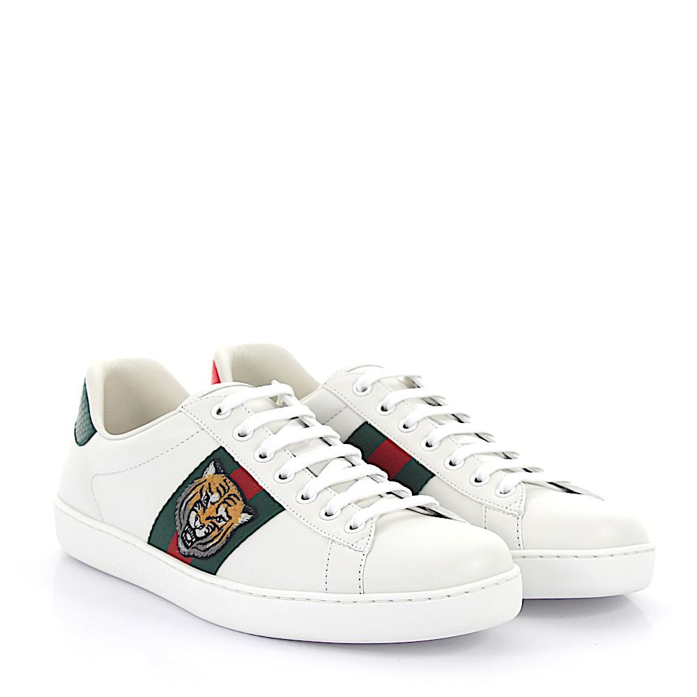 7a26d4e487a Gucci Ace Sneakers A38g0 Leather White Tiger Embroidery Details in ...